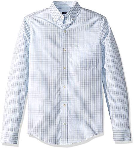 IZOD Men's Slim Fit Button Down Long Sleeve Stretch Performance Tattersal Shirt, Yucca, X-Large ()