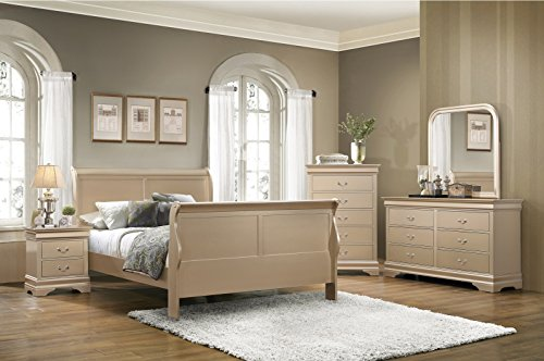 Louis Philipe Classic Metallic Champagne Queen Size Sleigh Bed 4pc Set Hardwood Lovely Dresser Mirror Nightstand Youth Bedroom