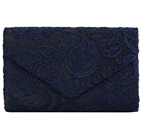 U-Story Womens Floral Lace Satin Evening Envelope Clutch Bridal Wedding Handbag Purse (Navy Blue)