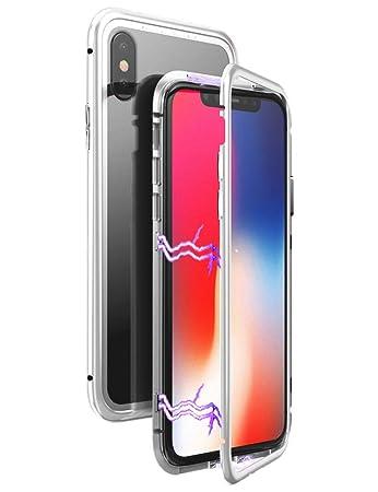 7a11ee128b iPhone Xs ケース マグネット式 uovon 金属バンパー アイフォンXs メタルカバー 人気合金 金属枠