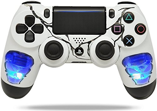 Skulls Blue PS4 PRO Rapid Fire Custom Modded Controller 40 Mods for All Major Shooter Games, Auto Aim, Quick Scope Sniper Breath & More (CUH-ZCT2U)
