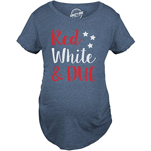 - Maternity Red White and Due Pregnancy Tshirt Cute 4th of July Baby Tee for Baby Bump (Heather Navy) - L