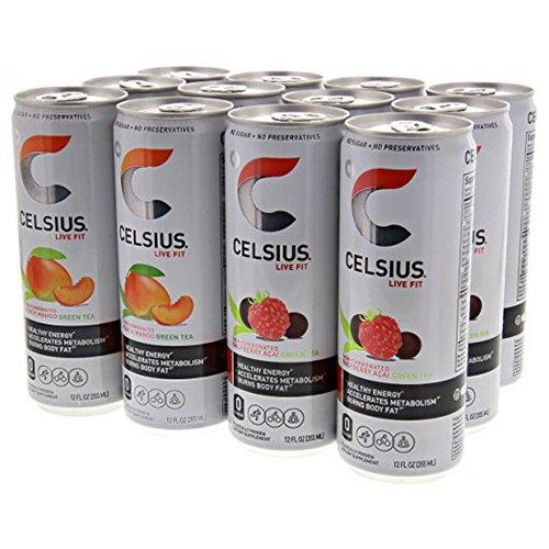 Celsius Non-Carbonated Pack, 6-Raspberry Acai Green Tea, and 6-Peach Mango Green Tea 12 - 12 fl oz (355mL) Cans