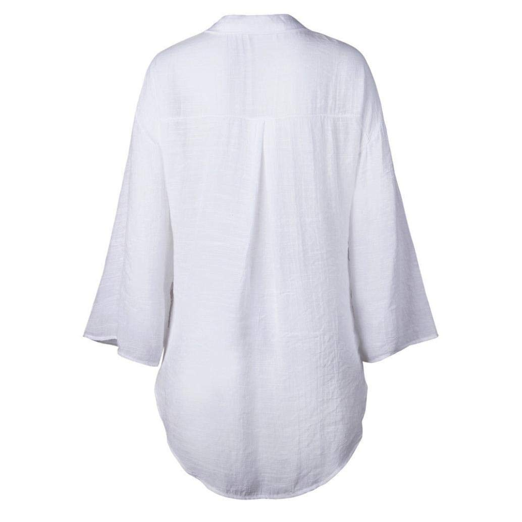 JiaMeng Mujeres Casual Tš²nica Camisa con Bolsillos Manga Botšn Camisa Larga Vestido Algodšn Tops Camiseta Blusa: Amazon.es: Ropa y accesorios