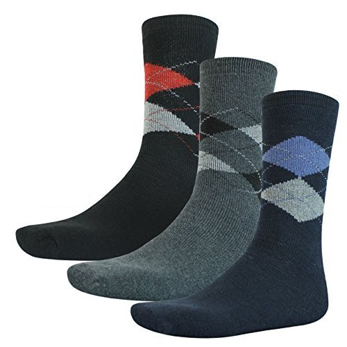 CostMad – para hombre 3 par Pack Argyle térmico cálido invierno grueso calcetines Reino Unido tamaño