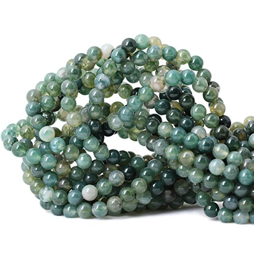Qiwan 60PCS 6mm Moss Agate Gemstone Loose Beads Natural Round Crystal Energy Stone Healing Power for Jewelry Making 1 Strand 15""