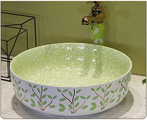 洗面台,手洗い器 壁付け型 陶器 洗面ボール 手洗い器 壁付け型 手洗い鉢 ガラス 手洗い鉢 おしゃれ 洗面ボ 手洗器 楕円形 洗面台 省スペ 室外 ミニ型 (Color : Green)