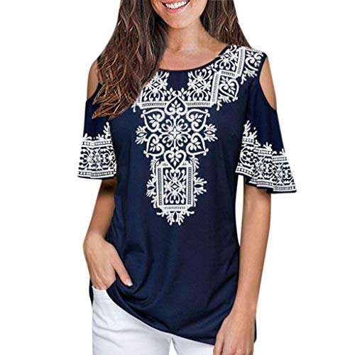 (Women's T-Shirt, Sharemen Women's Short Sleeve O-Neck Loose T-Shirt Print Off-Shoulder Top(Blue,L))