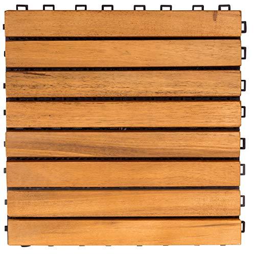 (VIFAH V355 Interlocking Acacia Plantation Hardwood Deck Tile 8-Slat Design, Teak Finish, 11 by 11 by 1-Inch)