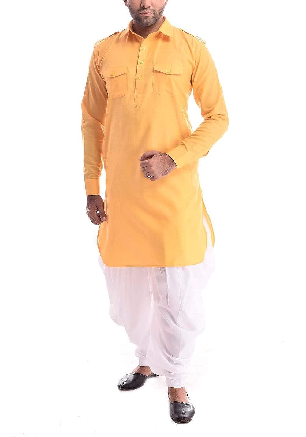ROYAL Mens Pathani Kurta Salwar with Classic Collar Linen,
