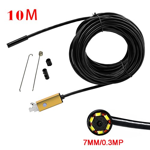 Mimgo Endoscope Android USB Borescope 7mm Waterproof Inspection Snake Camera with 6 Leds and 10M Cable (Gold) by Mimgo Store