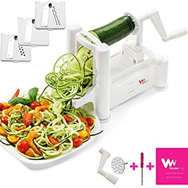 WonderVeg Vegetable Spiralizer - Tri Blade Spiral Slicer – Cleaning Brush, Mini Recipe Book and 2 Spare Parts Included - Zucchini Spaghetti Pasta Noodle Maker
