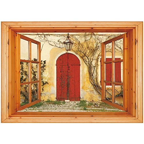3D Depth Illusion Vinyl Wall Decal Sticker [ Shutters,Doorway with Blinded Door and Window to the Rural Tuscan House Italy Europe,Beige Yellow Red ] Window Frame Style Home Decor Art Removable Wall St