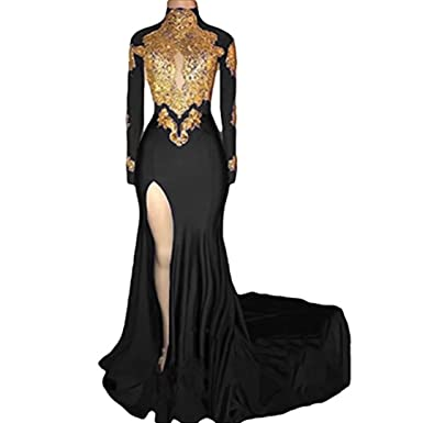 Chady High Neck Gold Appliques Black Mermaid Prom Dresse 2018 Long Sleeves Sexy High Split Bridesmaid