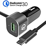 Car Charger, Snowkids Quick Charge 3.0 USB Car Charger Adapter with Attached 3Ft USB-C Cable for iPhone X/8,Google Pixel 2,Galaxy Note 8/S8/S8 Plus,LG G6 G5 V30 V20,Nexus 6P/5X,OnePlus,HTC & More