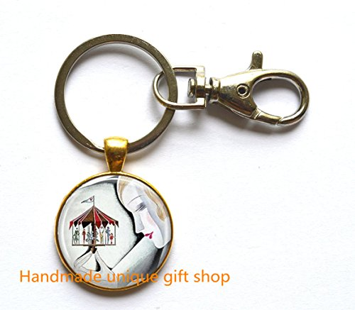 Beautiful Keychain,Gift Keychain,Art Deco Jewelry Woman with Carousel Merry Go Round Art Key Ring in Bronze or Silver with Link Included.TD051