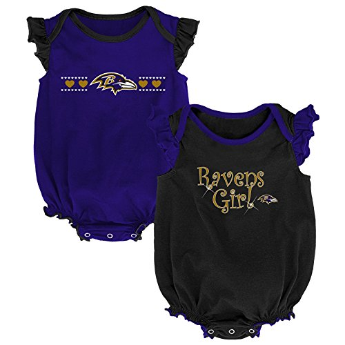 Outerstuff NFL NFL Baltimore Ravens Newborn & Infant Homecoming Bodysuit Combo Pack Ravens Purple, 0-3 Months