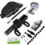 RUNACC Bike Repair Tools Kit Portable 16-in-1 Bicycle Multi-tool Set with Nylon Bike Saddle Bag, 140 PSI Mini Bike Pump with Air Pressure Gauge, Fits Both Presta and Schrader Valves