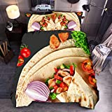 3PCS/Set Double Duvet Cover Bxzhiri 3D Creative Super Soft Colorful Mexican Burritos Blanket