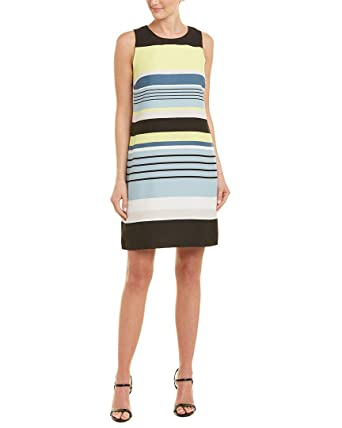c5b2d2284dfcd Vince Camuto Womens Sleeveless Stripe Harmony Shift Dress at Amazon Women's  Clothing store: