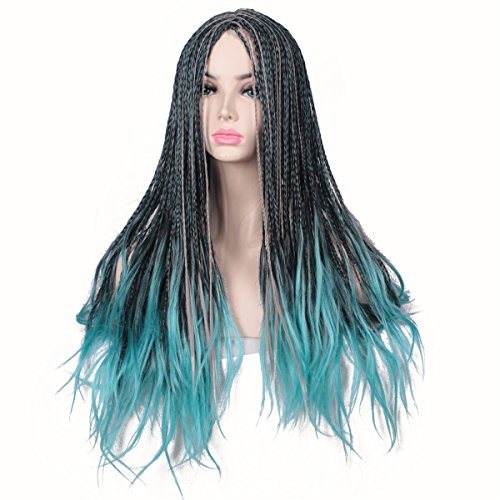ColorGround Kids Long Black ombre Blue Mixed Color Braids Halloween Cosplay Wig for Women and Girls ()