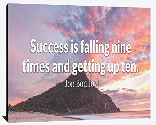(Success is Falling Nine Times and Getting up Ten Jon Bon Jovi Overcome Relentless Fearless Perseverance Patients Wood Wall Art Print Photo Image)