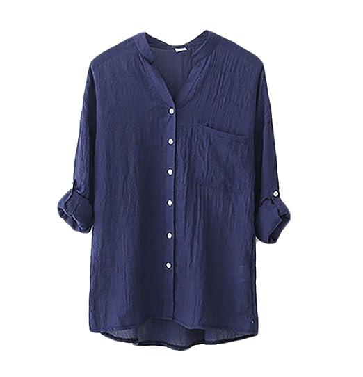 Blusas De Mujer Elegantes Moda Vintage Lino Camisa Manga Larga Stand Cuello Color Sólido Casual Anchas