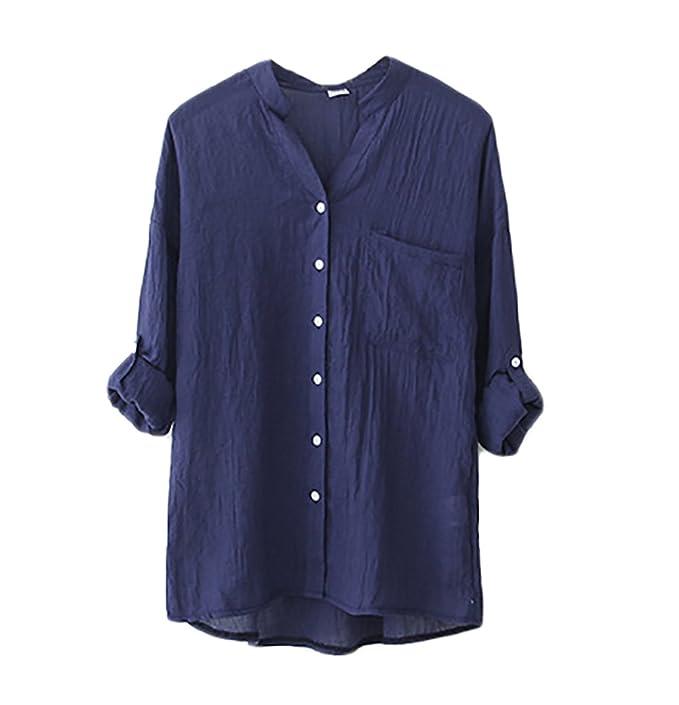 Blusas De Mujer Elegantes Moda Vintage Lino Camisa Manga Larga Stand Cuello Joven Bastante Color Sólido