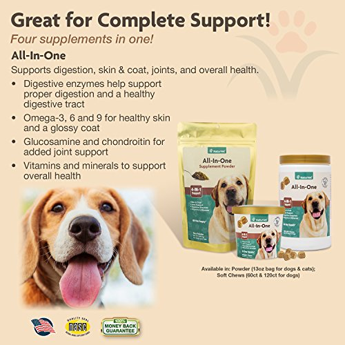 NaturVet All-in-One 4-IN-1 Support Dog Multivitamin Supplement, Skin and Coat Health, Joint Support, Digestive Health, Dog Vitamin and Mineral Support, Soft Chews, Made in the USA, 120 Count