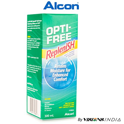 Alcon Opti-Free Replenish Multi-Purpose Disinfecting Solution 300ml for Contact Lens By Visions India (Pack of 1 Solution) Contact Lenses at amazon