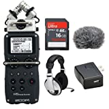 Zoom H5 Handy Recorder Bundle with Zoom WSU-1 Windscreen, Zoom RCH-5 Remote Control, Zoom AD-17 AC Power Adapter, Zoom XYH-5 X/Y Mic Capsule, Samson HP10 Headphones, Steinberg WaveLab LE, Steinberg Cubase LE, 16GB SD Card, USB Cable, 2x AA Batteries, and Austin Bazaar Polishing Cloth