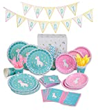 Unicorn Party Supplies Set | 130 Piece Set With Dinner Plates, Dessert Plates, Cups, Napkins, BPA Free Plastic Cutlery | Unicorn Happy Birthday Party Banner With RSVP Cards And Disposable Tableware | Serves 16 Guests | Eco-Friendly | By Blooming Bobo