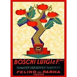 "Tomato Sauce Tree Boschi Luigi Parma Pasta Italy Italian 12"" X 16"" Image Size Vintage Poster Reproduction"