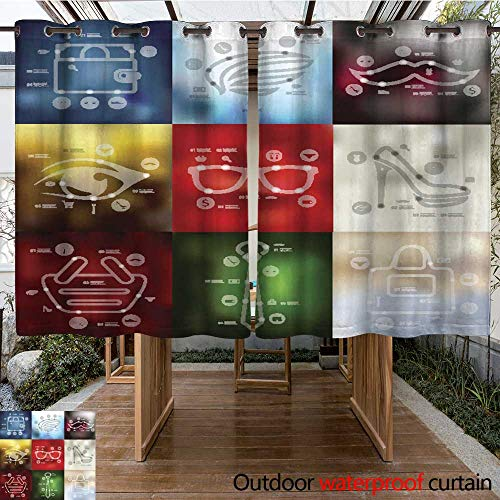RenteriaDecor Outdoor Balcony Privacy Curtain Fashion Timeline infographics with Blurred Background W63 x -