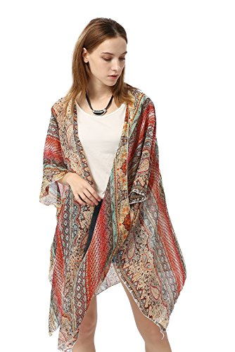 HINURA Women's Kimono Vintage Floral Beach Cover up Paisley Print Sheer Chiffon Loose Cardigan Red.