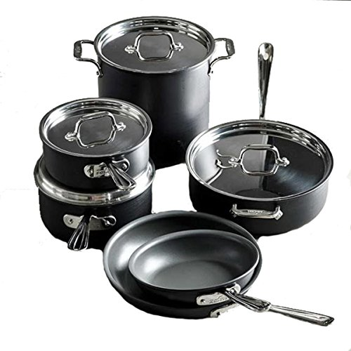 All-Clad E785SC64 Ha1 Hard Anodized Nonstick Dishwasher Safe PFOA Free Cookware Set, 10-Piece, Black -