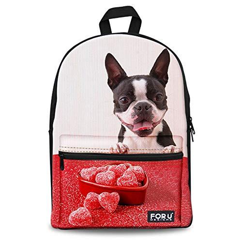 CHAQLIN French Bulldog Backpack Teen School Book Bag (French Book Bag)