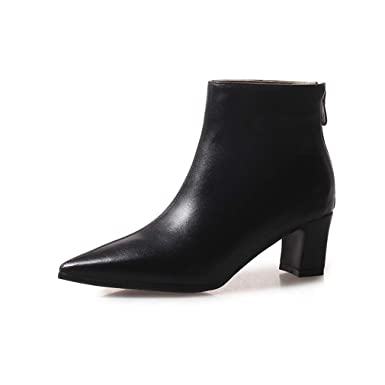 Winter Ankle Boots For Women Zipper Pointed Toe Bootie 5Cm Thick Heel Botines Femme Black 34