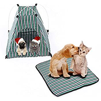 """Pet Tent ,Portable Folding Dog Cat House Bed Tent Waterproof Indoor Outdoor Cat Tent Teepee,16.8""""W x 16.8""""L x 16""""H (Green)"""