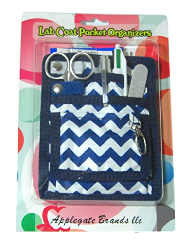 (6 Piece Protective Lab Coat Pocket Organizer Kit Has Fashionable Blue Chevron Pattern! Attractive Yet Durable - Made of Super Strong Denier Polyester. Perfect Gift for Nurses, Students & You!)