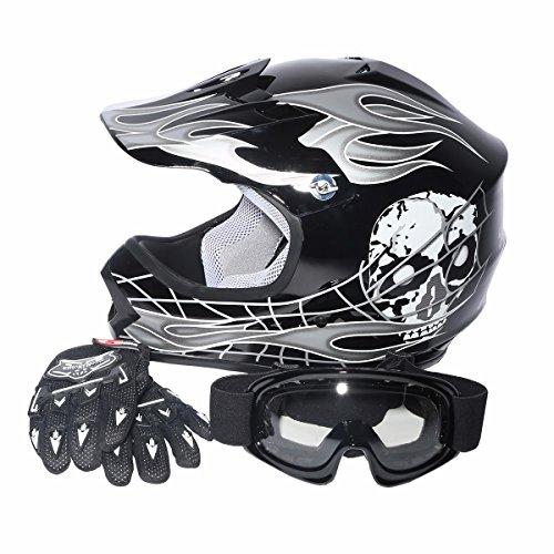 Youth Kids Children Helmet Black Silver Skull for Dirt Bi...