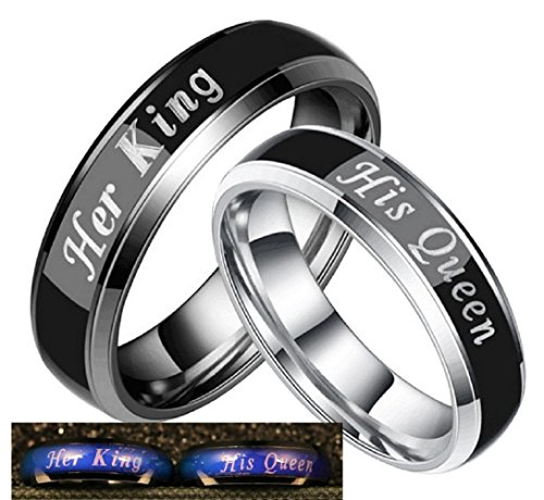 Color Changing Stainless Steel Mood Ring Her King Engagement Wedding Band Anniversary Promise Gift for Men (Her King, Size 11)