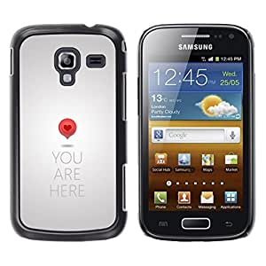 LECELL--Funda protectora / Cubierta / Piel For Samsung Galaxy Ace 2 I8160 Ace II X S7560M -- Heart Love Metal Grey Quote --