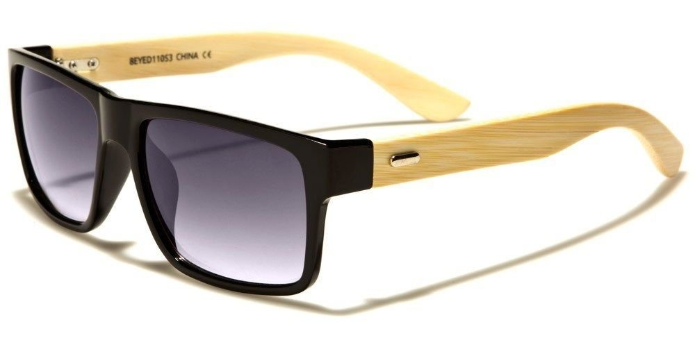 Shiny Black Gray Bamboo Wood Two Tone Horned Rim Men Women Sunglasses