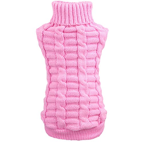 Picture of Wiz BBQT Knitted Braid Plait Turtleneck Sweater Knitwear Outwear for Dogs & Cats (Pink, L)