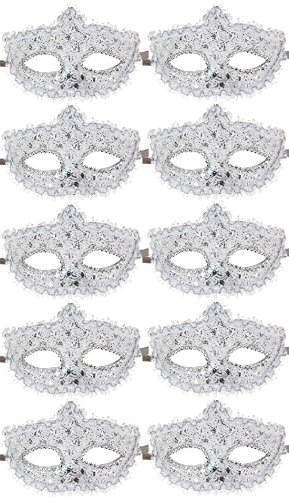 10pcs Set Mardi Gras Half Masquerades Venetian Masks Costumes Party Accessory (Mardi Gra Themed Dresses)