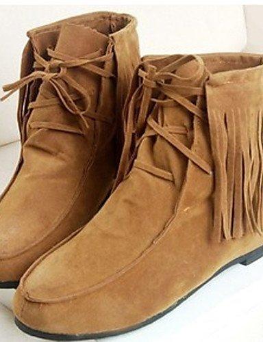 ShangYi Mode Frauen Schuhe Damen Stiefel Frühjahr / Herbst Runder Fleece Outdoor / Casual Ferse Quaste Schwarz / Braun
