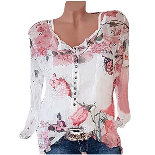 (NREALY Blusa Women's Casual Floral Printed Button T-Shirt Chiffon Irregular Hem Top Blouse(S, White))