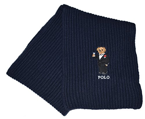 Polo Ralph Lauren Mens Polo Bear Knit Winter Fashion Scarf (Hunter Navy Blue/Tuxedo, One - Ralph Discount Lauren