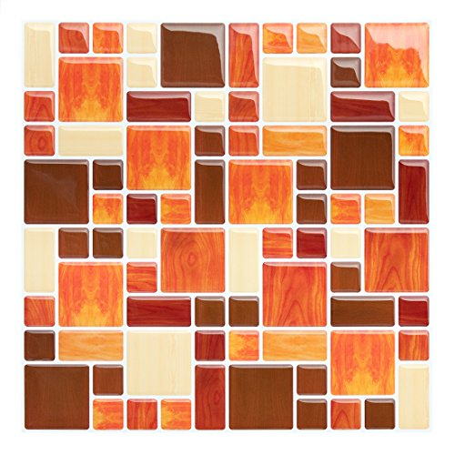 Wood Tile Kitchen Backsplash: Peel And Stick Tile Backsplash-Kitchen Amber Wood Mosaic